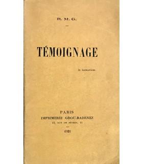 MARTIN DU GARD (Roger). Témoignage. In memoriam. Edition originale