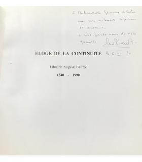[BLAIZOT] CHAPON (François). Eloge de la continuité. Edition originale. Illustration par Julius Baltazar