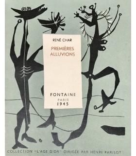 CHAR (René). Premières alluvions. Edition originale. Couverture illustrée par Mario Prassinos d'après un dessin de Max Ernst.