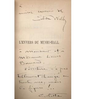 COLETTE.  L'envers du Music-Hall. Edition originale. Reliure avec envois autographes.
