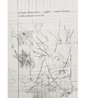 XENAKIS (Françoise). Elle lui dirait dans l'île. Récit. Extraits des partitions de Xenakis. Gravures de Claude Groschêne.