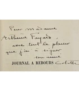 COLETTE. Journal à rebours. Edition originale. Envoi autographe signé.