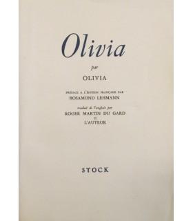 [MARTIN DU GARD (Roger)] OLIVIA. Edition originale. Préface à l'édition française par Rosamond Lehmann.