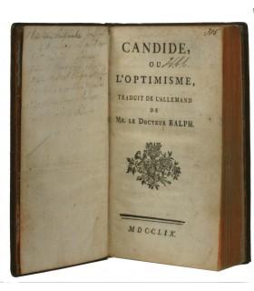 VOLTAIRE. Candide ou l'Optimiste, traduit de l'allemand de Mr. le Docteur Ralph. 1759. Edition originale. Reliure de l'époque.