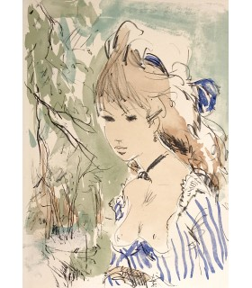 MAUPASSANT (Guy de). La Maison Tellier. Illustrations de Gaston Barret. Exemplaire enrichi d'une aquarelle. Envoi autographe.