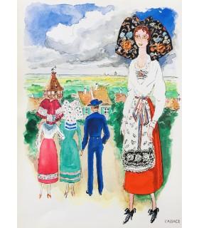 [VINS NICOLAS] Sous le signe de quelques jolies filles des provinces de France. Aquarelles de Van Dongen.