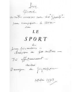 GIRAUDOUX (Jean). Le Sport. Eaux-fortes, dessins et croquis par A. D. de Segonzac. Gravures sur bois de Jacques Beltrand.