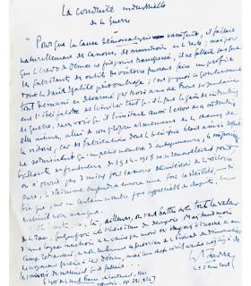 MAURRAS (Charles). Pour un réveil français. Edition originale. Page autographe signée par l'auteur.